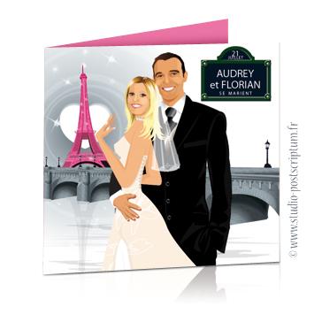 Faire-part de mariage original voyage romantique Couple de mariés à Paris avec la tour Eiffel en rose gris – chic – drôle plaque rue