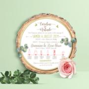 Faire-part de mariage champêtre - rondelle de bois pastel bohème -vintage fleurs couleurs pastel Vert mint, rose poudré, rose corail, vert eau