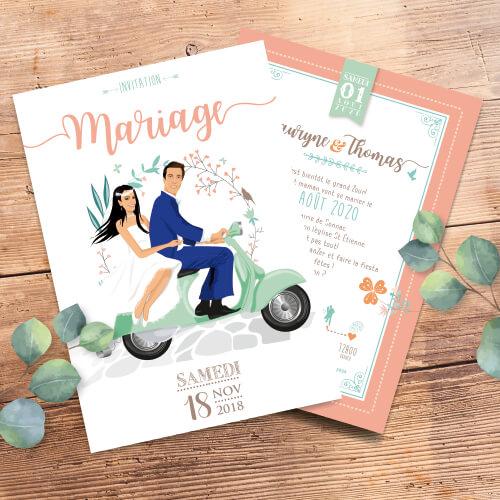 Faire-part de mariage original – vespa bohème chic boho – vintage fleurs couleurs pastel Vert mint, rose poudré, rose corail, vert eau
