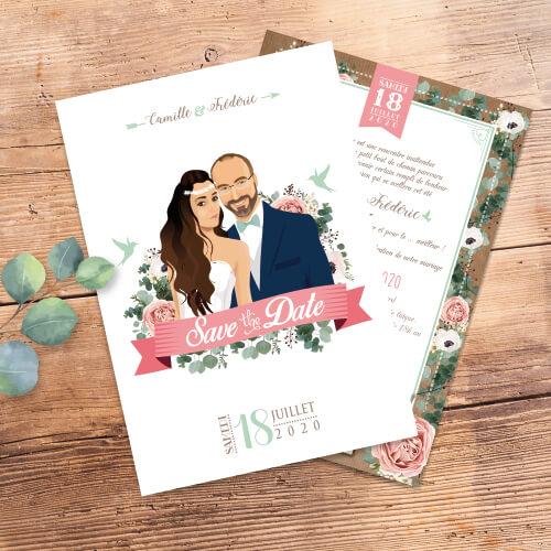 Faire-part de mariage original – fleurs vintage bohème chic – fond kraft Vert mint, rose poudré, rose corail, vert eau
