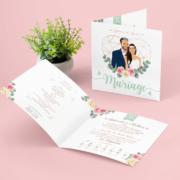 Faire-part de mariage original – couleurs pastel Vert mint, rose poudré, rose corail, vert eau Possibilité or rosé métalisé