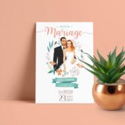 Faire-part de mariage champêtre - bohème pastel bohème - vintage fleurs couleurs pastel Vert mint, rose poudré, rose corail, vert eau