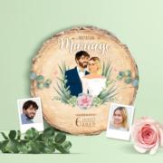 Faire-part de mariage champêtre - rondelle de bois pastel bohème - vintage fleurs couleurs pastel Vert mint, rose poudré, rose corail, vert eau - invitation originale