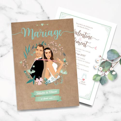 Faire-part de mariage original bohème chic vintage – fond kraft Vert mint, rose poudré, rose corail, vert eau