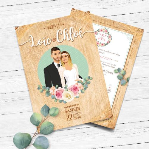 Faire-part de mariage original – fond effet bois bohème chic boho – vintage fleurs couleurs pastel Vert mint, rose poudré, rose corail, vert eau