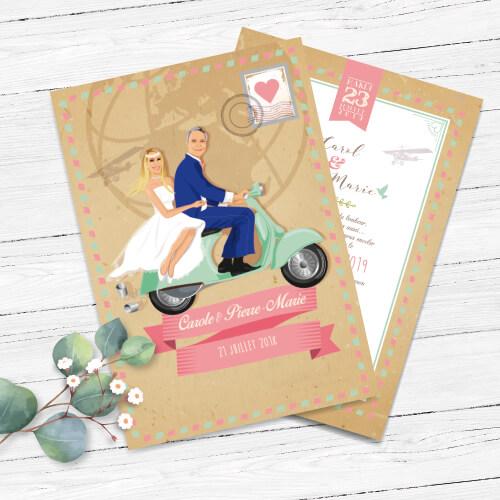 Faire-part de mariage original – fond kraft airmail bohème chic boho – vintage couleurs pastel Vert mint, rose poudré, rose corail, vert eau