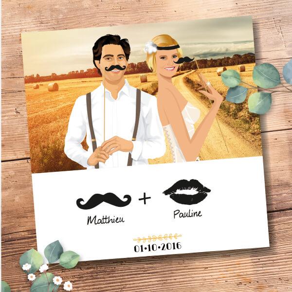 Faire-part de mariage original romantique et rétro style champêtre vintage avec jeu de moustache chic des années folles – années 20 © www.studio-postscriptum.fr