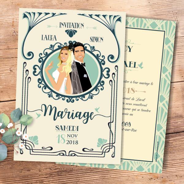 Faire-part de mariage original et rétro d'après l'affiche de Gatsby le Magnifique beige et bleu celadan vert mint - années folles – tenue Charleston années 20
