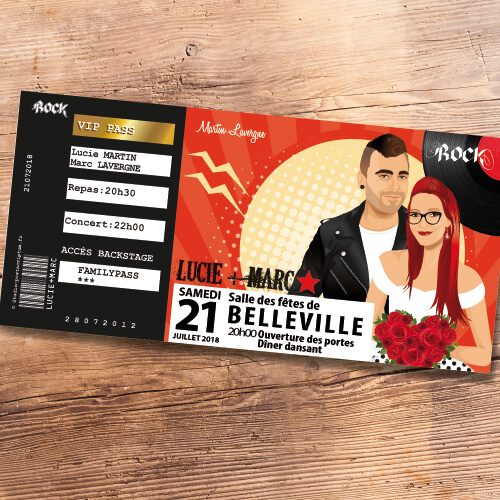 Faire-part billet ticket de concert de mariage rock à billy rock n' roll rétro vintage 50 60 - Faire-part, invitation ou save the date cuir et vinyle Portraits dessin caricature - chic vintage et romantique.