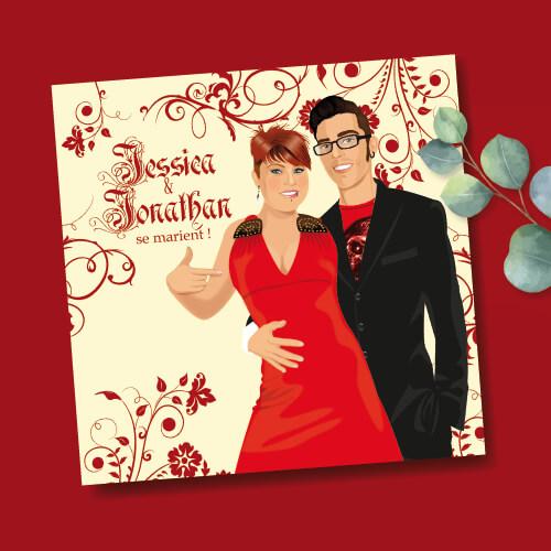 Faire-part de mariage sur le thème hard Rock Rouge et noir avec perfecto et robe rouge pour ajouter une touche Rock heavy metal à votre mariage