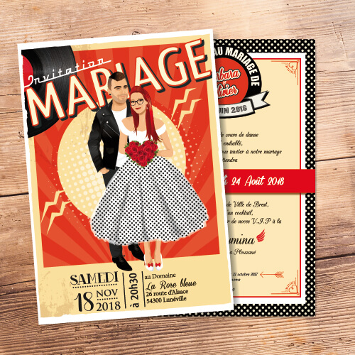 Faire-part de mariage rock à billy rock n' roll rétro vintage 50 60 - Faire-part, invitation ou save the date cuir et vinyle Portraits dessin caricature - chic vintage et romantique.