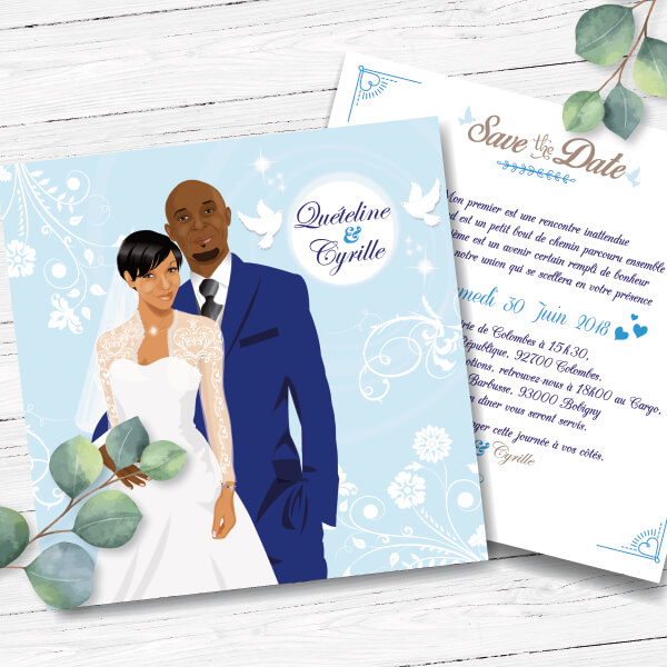 Faire-part de mariage original romantique Couple sur fond bleu poudré tendre avec colombes blanches chic bucolique – élégant