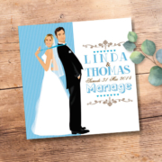 Faire-part de mariage original romantique vintage dessin d'après photos - bleu poudré taupe et blanc