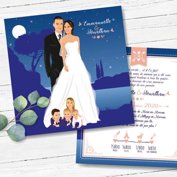 Faire-part de mariage original romantique Couple de mariés avec leurs enfants fond bleu nuit étoilé avec touches de rose poudré pêche