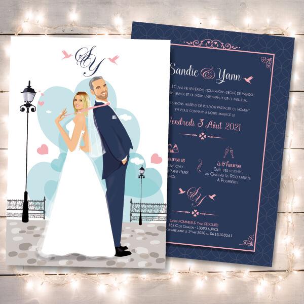 Faire-part de mariage romantique et tendance couple dessin d'après photos. couleur gris, bleu et rose poudré