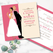 Faire-part de mariage original romantique vintage dessin d'après photos – sur fond kraft rose poudré