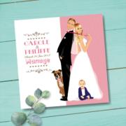 Faire-part de mariage original romantique vintage dessin d'après photos – sur fond kraft rose poudré - enfant et chien