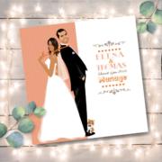 aire-part de mariage original romantique vintage dessin d'après photos – blanc et orange corail pêche abricot