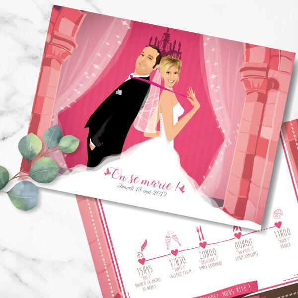 Faire-part de mariage original romantique Couple de mariés – dessin d'après photos Fond château féérique rose