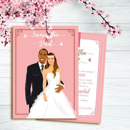 Faire-part mariage rose poudré romantique pois bohème - Faire-part, invitation ou save the date Portraits dessin caricature - chic vintage et romantique.