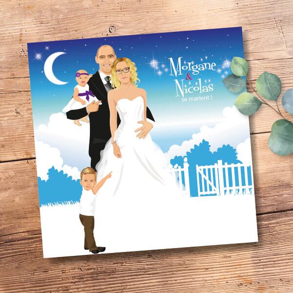 Faire-part de mariage original avec enfant – dessin d'après photos. Couple de mariés avec enfants – famille Thème bohème bleu et blanc