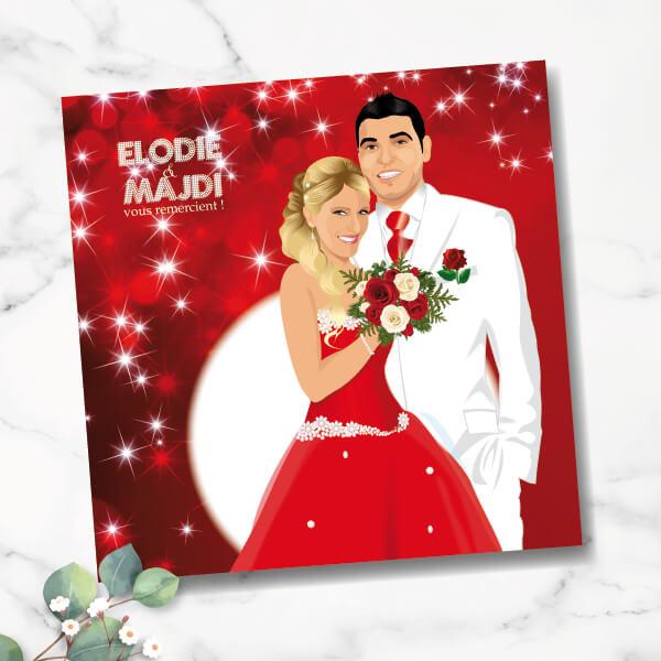 Faire-part de mariage original amour romantique Amoureux sur un fond strass scintillant rouge et blanc avec robe de mariée rouge