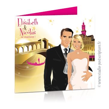 Faire-part de mariage original voyage romantique Couple de mariés à Venise devant le pont du Rialto blanc or et fuschia – chic – drôle