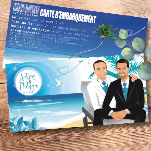 Faire-part de mariage original voyage – dessin d'après photos. Billet d'avion – carte d'embarquement Fond plage bleu et blanc – mariage gay