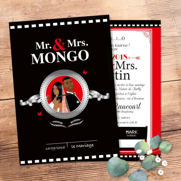 Faire-part de mariage original cinéma dessin Mr & Mrs smith en dessin d'après vos photos : faire-part clap bobine