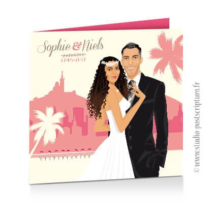 Faire-part de mariage original vintage Marseille bohème chic rétro d'après vos photos rose poudré