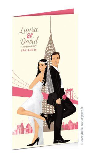 Faire-part de mariage original voyage vintage new-york bohème chic rétro d'après vos photos rose poudré crème
