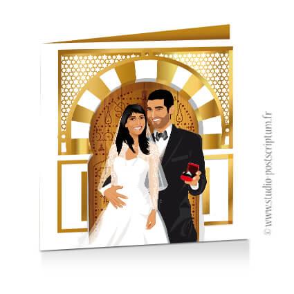 Faire-part de mariage original oriental porte marocaine 1001 nuits dessin d'après vos photos or et blanc