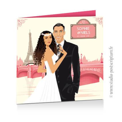 Faire-part de mariage original voyage vintage paris romantique bohème chic rétro d'après vos photos rose poudré crème