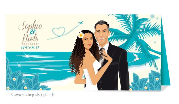 Faire-part de mariage original voyage pochette vintage île plage bohème chic rétro d'après vos photos bleu turquoise crème