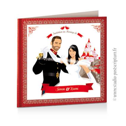 Faire-part de mariage original princesse cendrillon conte de fée vintage dessin d'après vos photos rouge blanc et gris