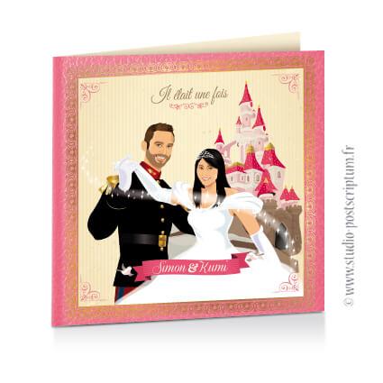 Faire-part de mariage original princesse cendrillon conte de fée vintage d'après vos photos rose crème