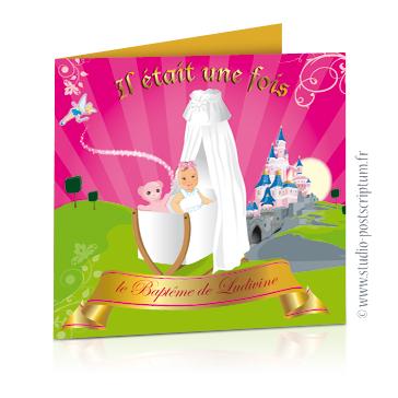Faire-part de baptême original romantique – dessin d'après photos. Princesse dans un berceau avec fée clochette et château de la Belle au bois dormant