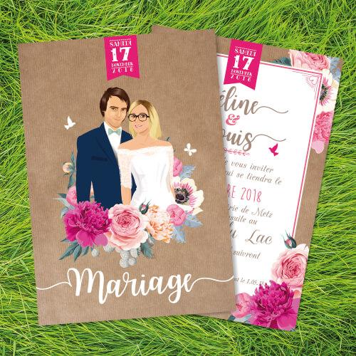 Faire-part, invitation bohème champêtre rustique original - kraft et fleurs. Portraits dessin caricature - vintage et romantique.