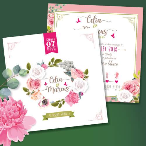 Faire-part de mariage original et romantique Rétro vintage fleur rose poudré Bohème chic