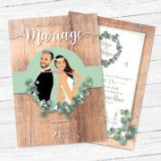 Faire-part, invitation bohème champêtre rustique original - bois et feuille de vigne ou eucalyptus. Portraits dessin caricature - vintage et romantique.