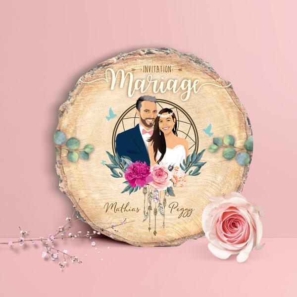 Faire-part de mariage original – fond rondelle de bois Couple en dessin avec attrape rêve et fleurs bohème Impression sur papier – forme de découpe rondelle