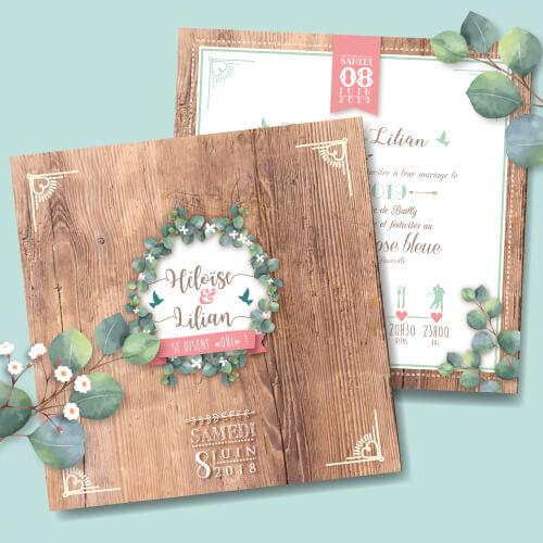 Faire-part de mariage original rustique champêtre fond effet bois – rétro vintage vigne eucalyptus Bohème chic – impression sur papier à grain blanc