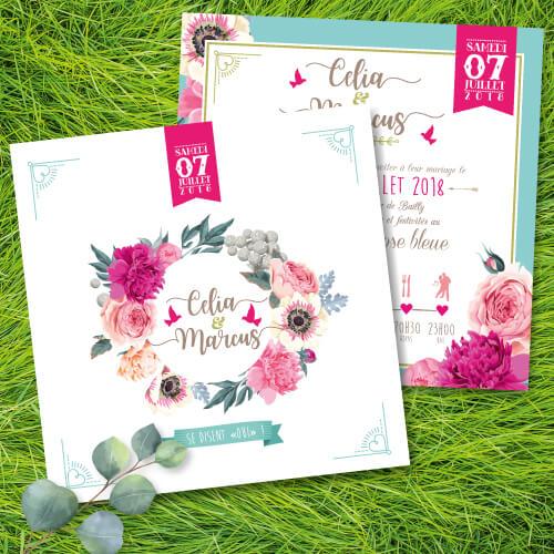 Faire-part de mariage original romantique thème fleurs rose Bohème chic – impression sur papier à grain blanc