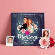 Faire-part de mariage champêtre - bohème ardoise pastel bohème - kraft vintage fleurs couleurs pastel Vert mint, rose poudré, rose corail, vert eau originale