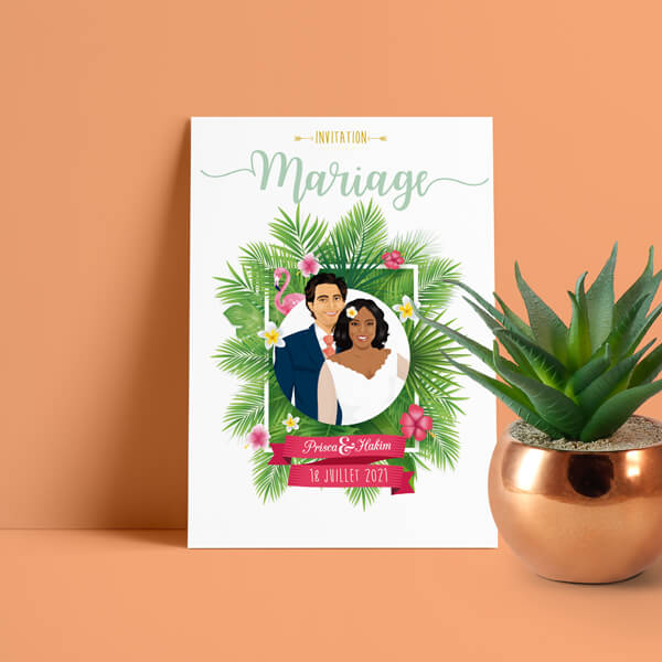 Faire-part de mariage original voyage – dessin d'après photos. Couple de mariés – île tropical avec plantes et fleurs exotiques