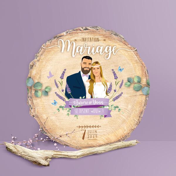Faire-part de mariage original – fond rondelle de bois Couple sur fond nature champêtre – lavande violet parme Impression sur papier – forme de découpe
