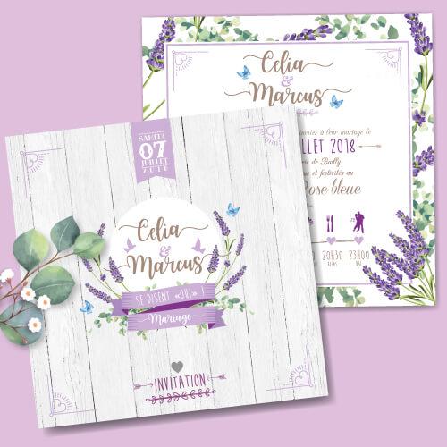 Faire-part de mariage original et romantique thème provence lavande violet parme Bohème chic – impression sur papier à grain blanc