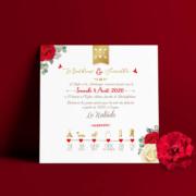 Faire-part de mariage amour chic avec fleurs roses rouges et or et blanc pour apporter une touche classe à votre mariage © www.studio-postscriptum.fr