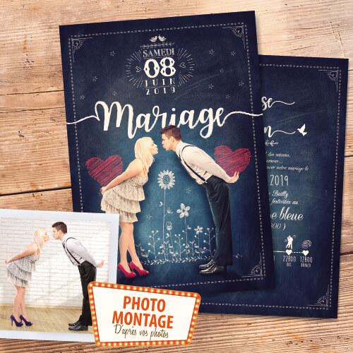 Faire-part de mariage original craie photo montage d'après photos. style rétro vintage bohème champêtre romantique