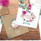 Faire-part de mariage original et romantique fond effet kraft – rétro vintage – dentelle et pois Bohème chic – impression sur papier à grain blanc